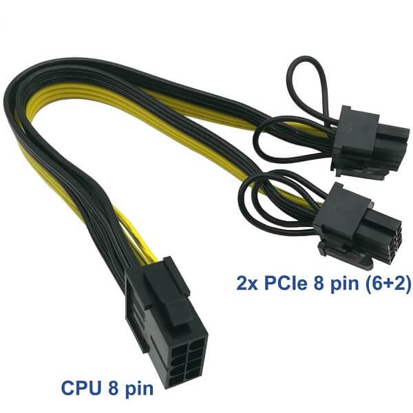تبدیل 8 پین نر برق پاور به دو تا 2+6 پین ماده VGA